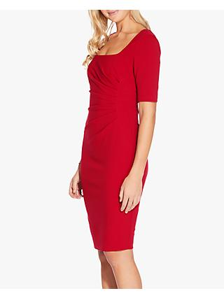 Adrianna Papell Pleat Detail Tailored Crepe Dress, Cardinal Red