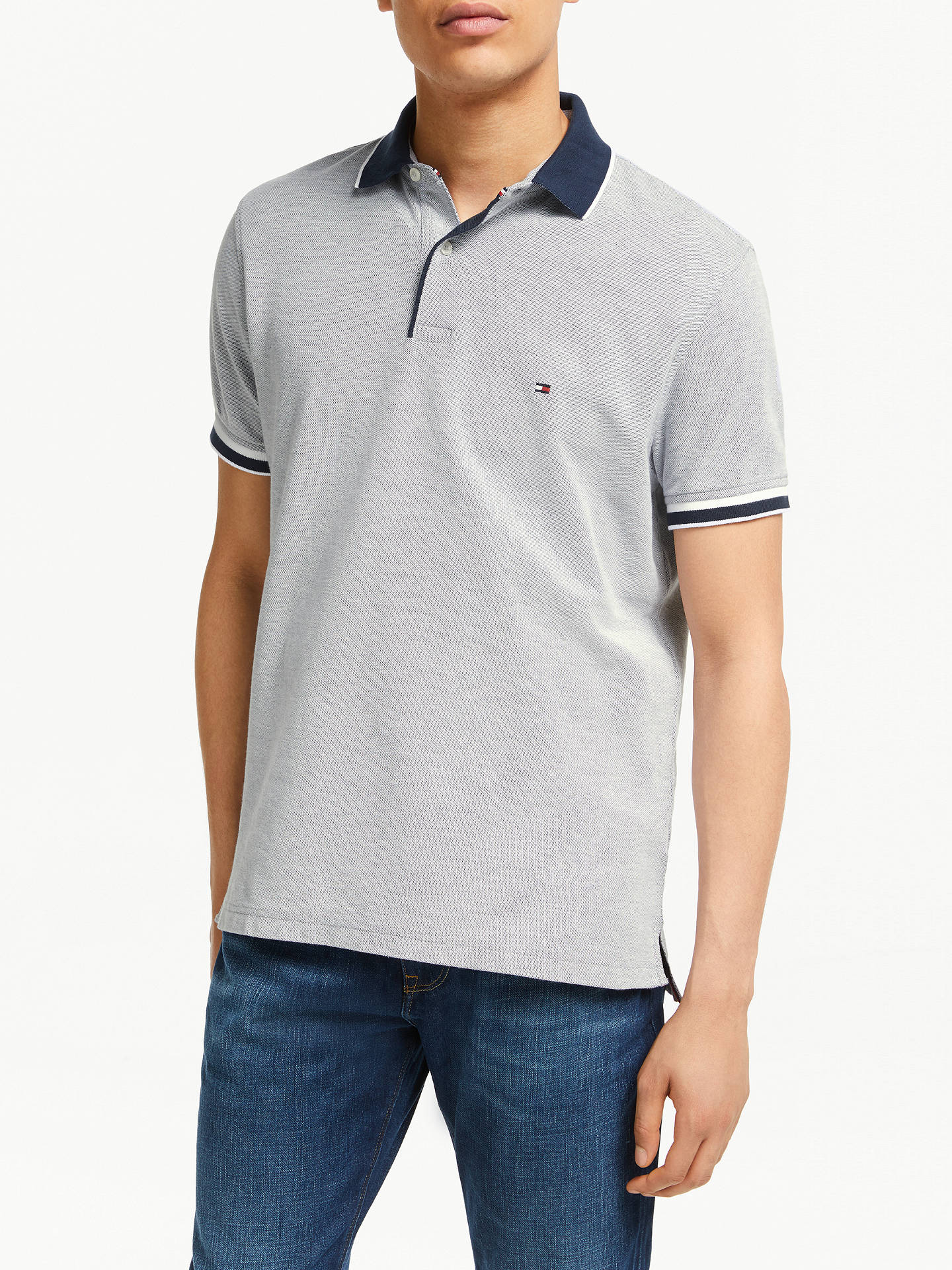 31566fde Buy Tommy Hilfiger Oxford Cotton Slim Polo Shirt, Sky Captain, S Online at  johnlewis ...