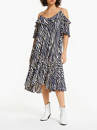 AND/OR Erica Zebra Print Ruffle Dress, Navy