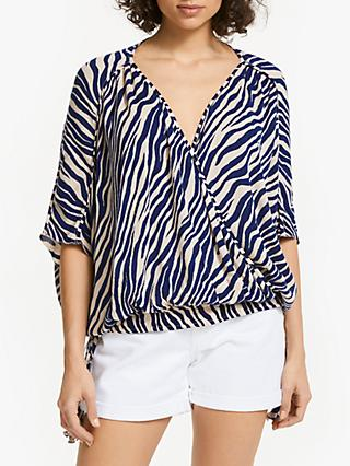 AND/OR Zebra Print Wrap Over Top, Navy