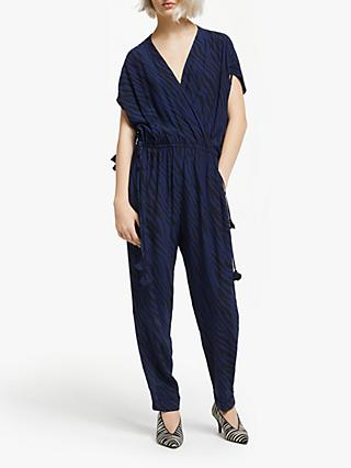 AND/OR Zebra Print Jumpsuit, Navy
