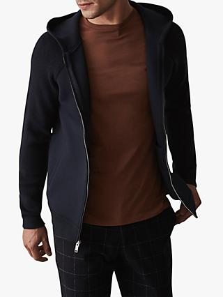 Reiss Hermiston Full Zip Panelled Hoodie, Navy