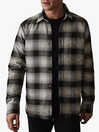 Reiss Peak Check Overshirt, Charcoal