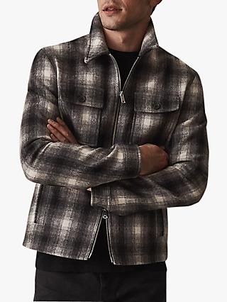 Reiss Gosling Check Wool Blend Blouson Jacket, Black/White