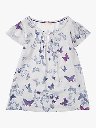 Jigsaw Girls' Butterfly Blouse, Silver