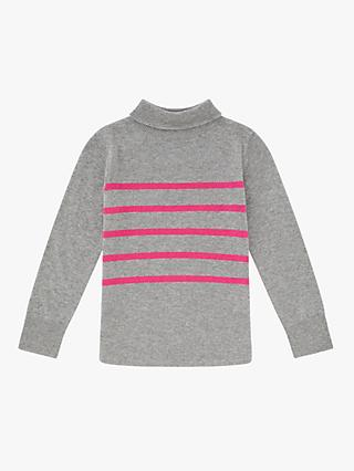 Jigsaw Girls' Montmartre Stripe Jumper, Light Grey
