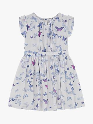 Jigsaw Girls' Butterfly Print Dress, Silver