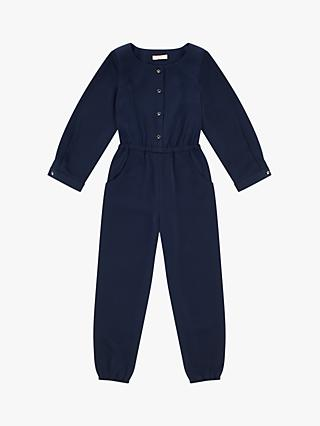 Jigsaw Girls' Satin Crepe Jumpsuit, Navy