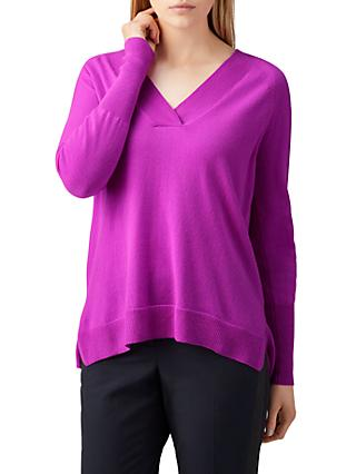 Pure Collection Cashmere V-Neck Jumper, Vivid Magenta