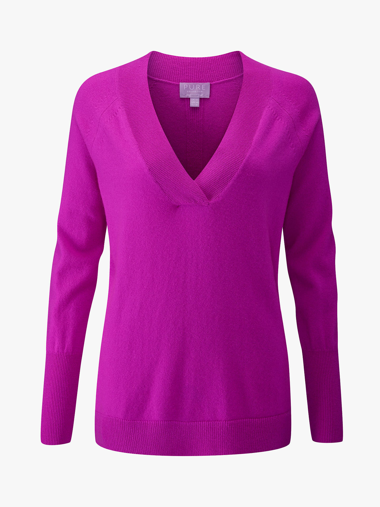 BuyPure Collection Cashmere V-Neck Jumper, Vivid Magenta, 12 Online at johnlewis.com