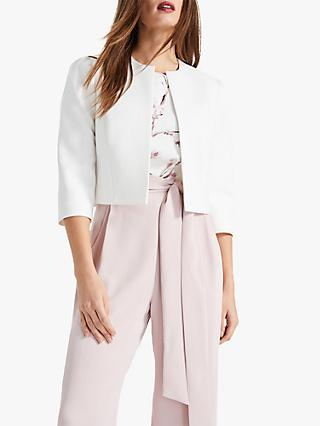 Phase Eight Venita Shoulder Detail Cropped Jacket, Ivory