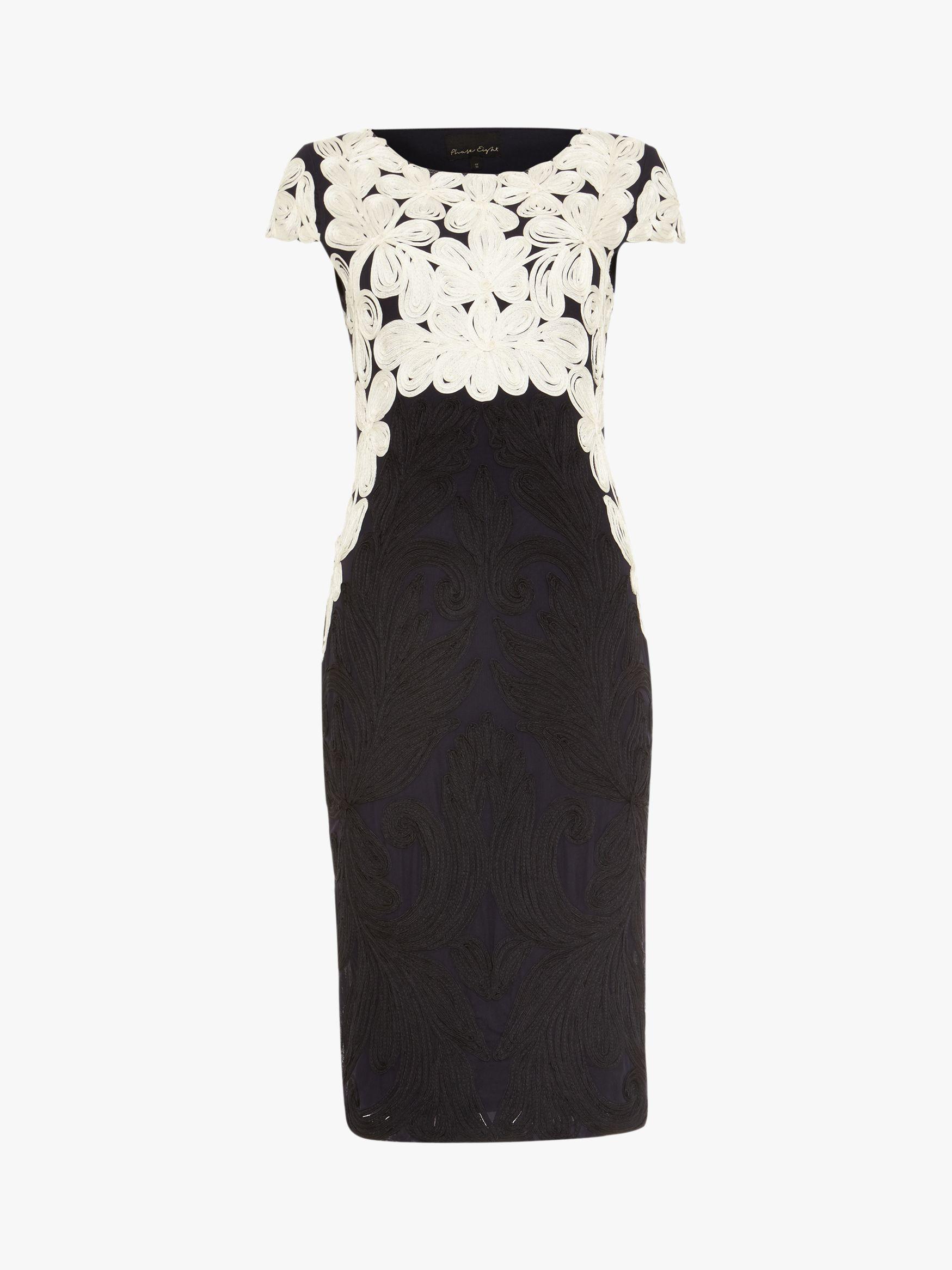 Phase Eight Catheleen Tapework Dress, Navy/Ivory