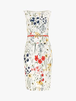 Phase Eight Jaida Floral Peplum Dress, Ivory/Multi