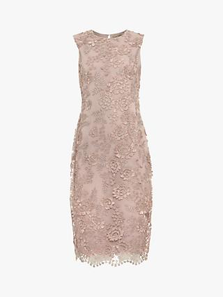 Phase Eight Teresa 3D Metallic Lace Dress, Misty Mauve