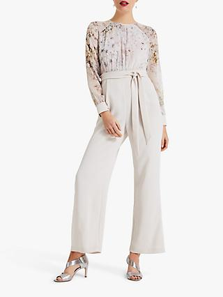 Phase Eight Aleena Floral Bodice Jumpsuit, Stone/Multi