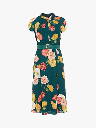 Phase Eight Laura Floral Print Dress, Pine/Multi