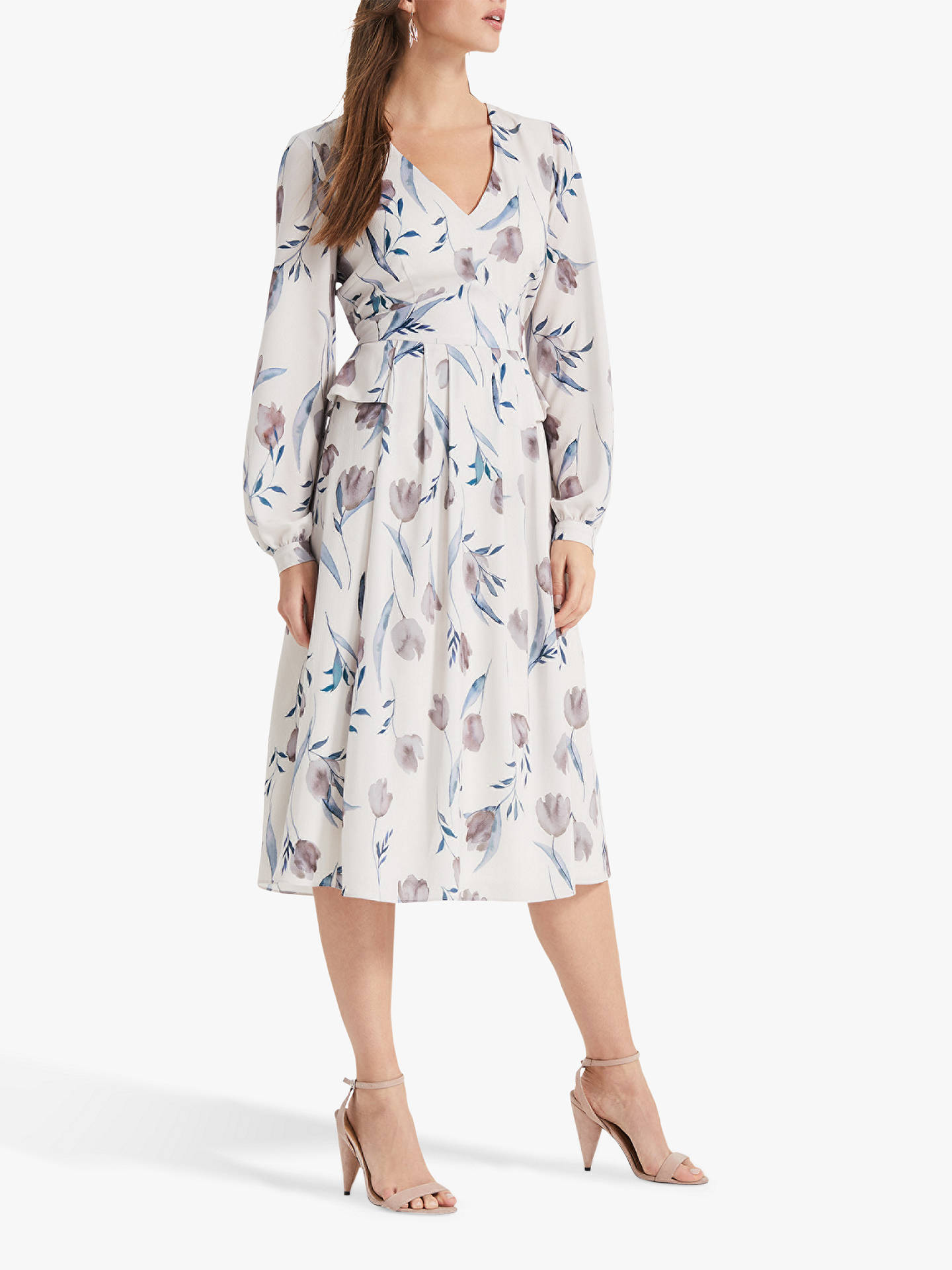 Phase Eight Emanuella Floral Printed Dress Oyster