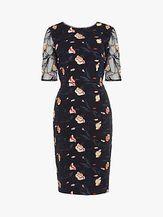Phase Eight Mariah Embroidered Dress, Navy/Multi