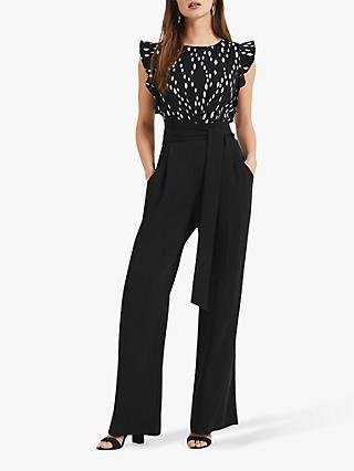 Phase Eight Victoriana Foil Print Jumpsuit, Black