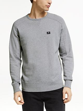 J.Lindeberg Half Raglan Sleeve Sweatshirt, Light Grey Melange
