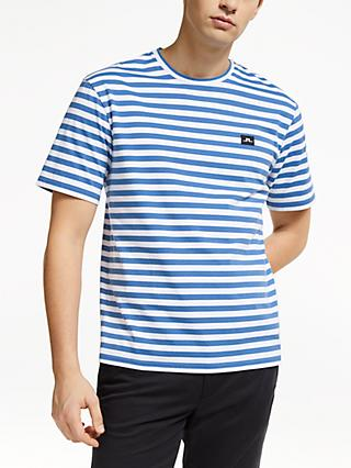 J.Lindeberg Short Sleeve Stripe T-Shirt, Work Blue