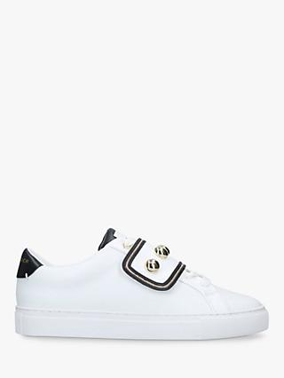 Kurt Geiger London Lin Studded Low Top Trainers, White/Black Leather