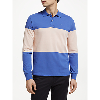 J.Lindeberg Long Sleeve Striped Polo Top, Work Blue