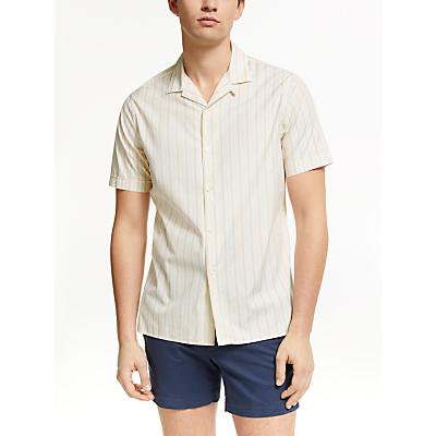 J.Lindeberg Stripe Short Sleeve Shirt, Summer Beige