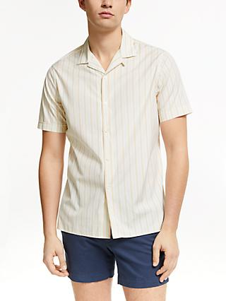 J.Lindeberg Stripe Short Sleeve Shirt, Summer Beige