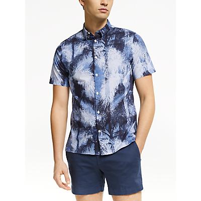 J.Lindeberg Palm Print Short Sleeve Shirt, Navy