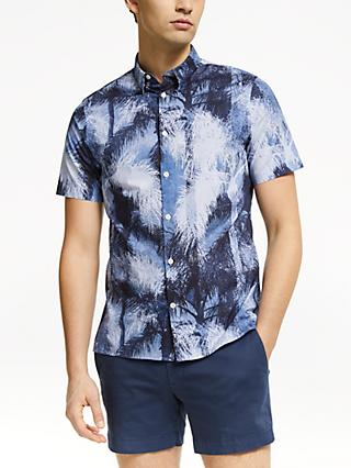 J.Lindeberg Palm Print Short Sleeve Shirt, Navy