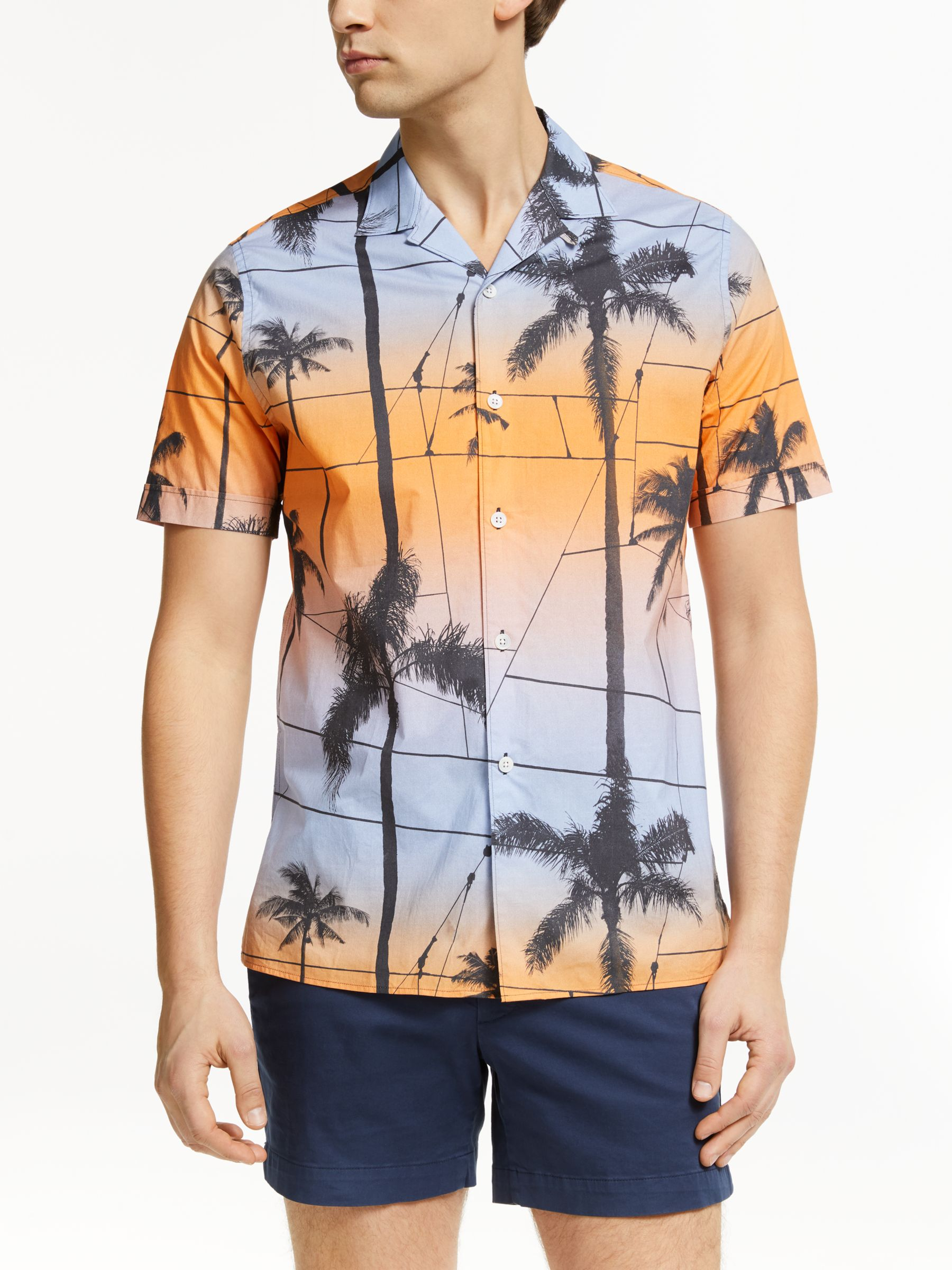J.LINDEBERG J.Lindeberg Palm Print Shirt, Cool Peach