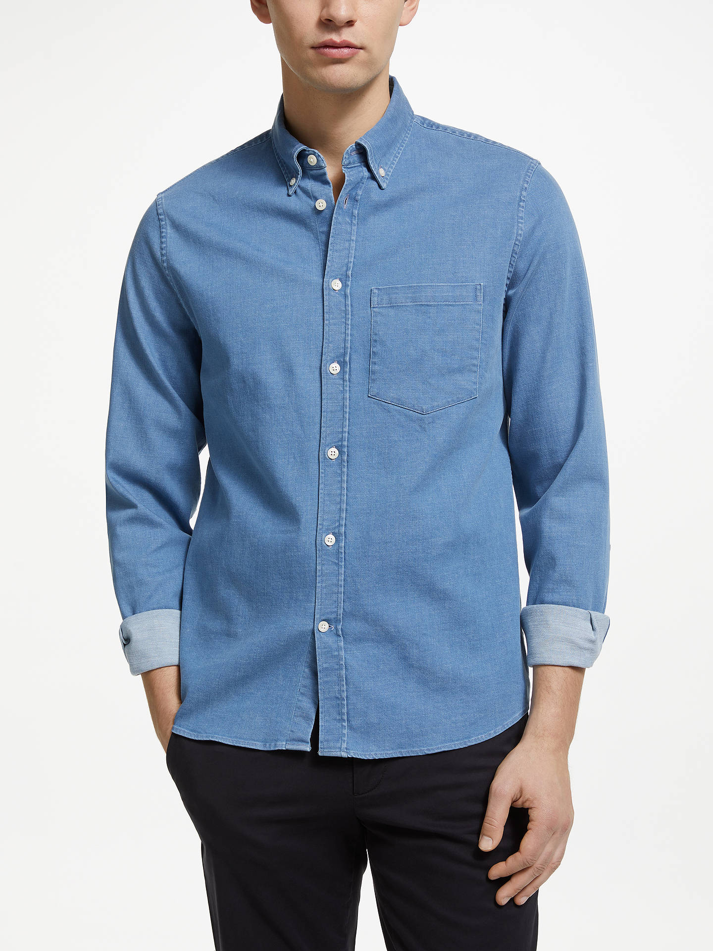 4119120e7d4afb Buy J.Lindeberg Denim Shirt, Light Indigo, S Online at johnlewis.com ...