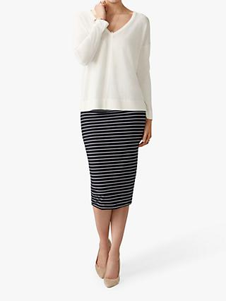 Pure Collection Jersey Tube Skirt, Navy/White