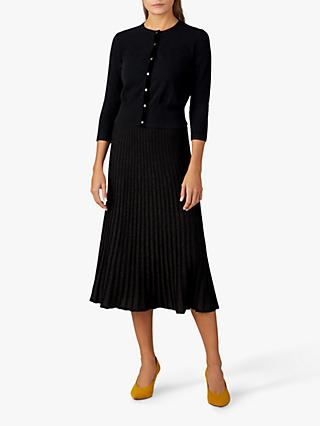 Pure Collection Knitted Pleated Skirt, Black Sparkle