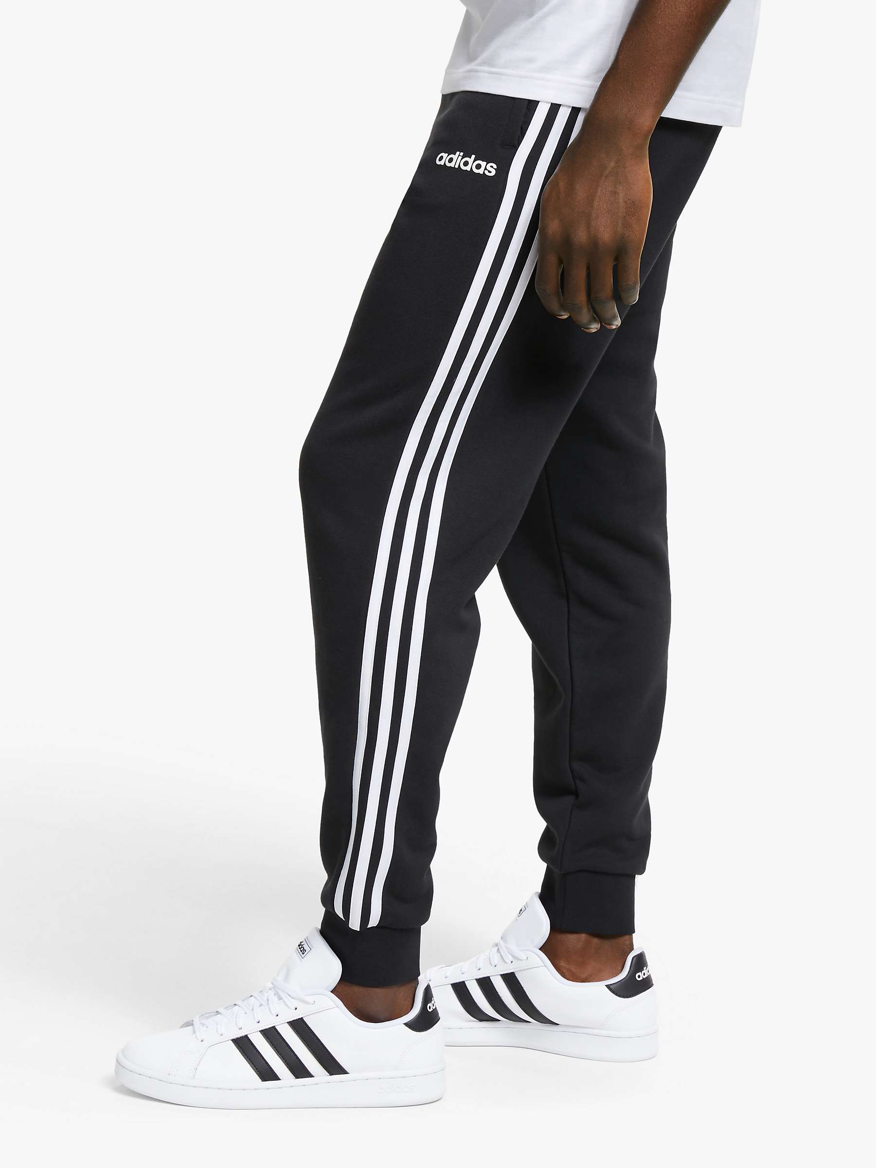 great look 100% high quality best deals on adidas Essentials 3-Stripes Tapered Jogging Bottoms, Black