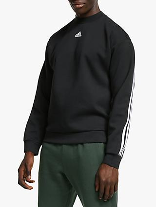 adidas Must Have 3 Stripe Crew Sweatshirt, Black