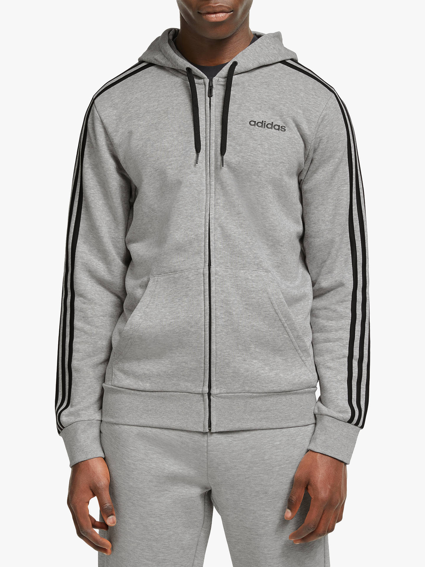 adidas Essentials 3 Stripes Full Zip Training Hoodie, Medium Grey Heather