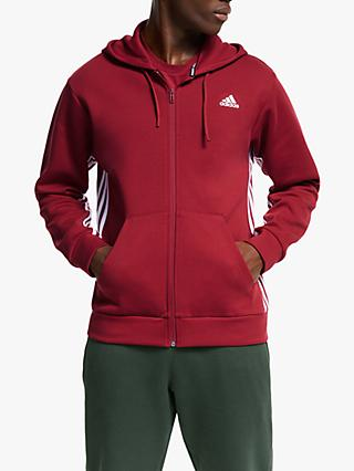 adidas Must Haves 3-Stripes Full Zip Hoodie, Active Maroon