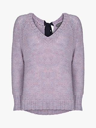 Mint Velvet Tie Back V-Neck Knit Sweater, Light Purple