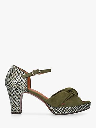 Chie Mihara Naira High Heel Sandals, Mid Green Suede