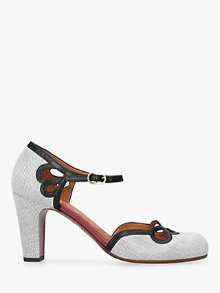 Chie Mihara Kokoo Two Part Block Heel Court Shoes, Mid Grey Leather