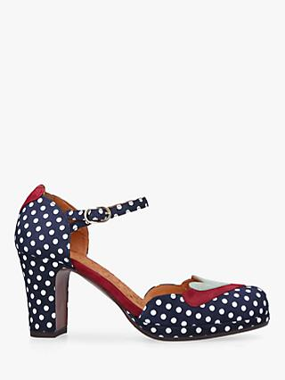 Chie Mihara Jalove Two Part Block Heel Court Shoes, Navy Suede