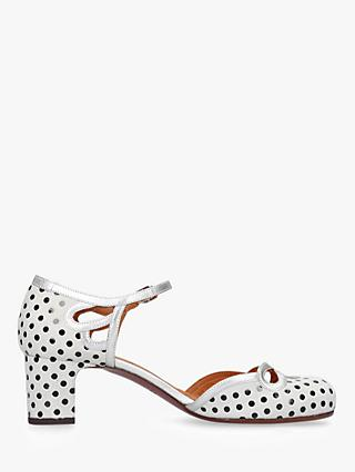 Chie Mihara Saint Two Part Block Heel Court Shoes, White Leather