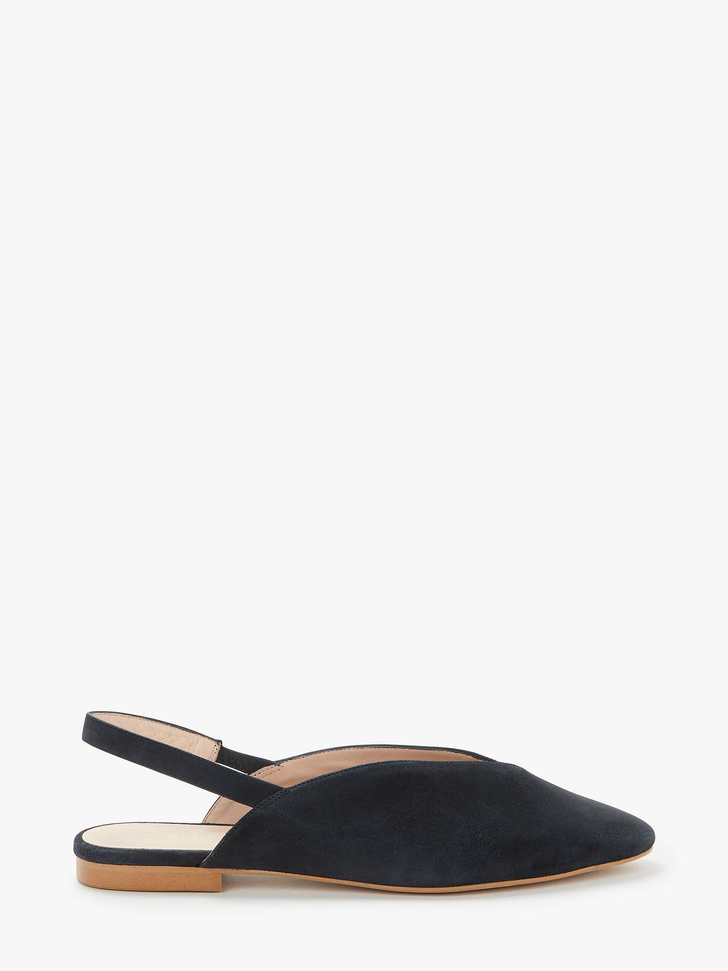4d516595fe Buy John Lewis & Partners Clara V Cut Flat Slingback Flat Court Shoes, Navy  Suede ...