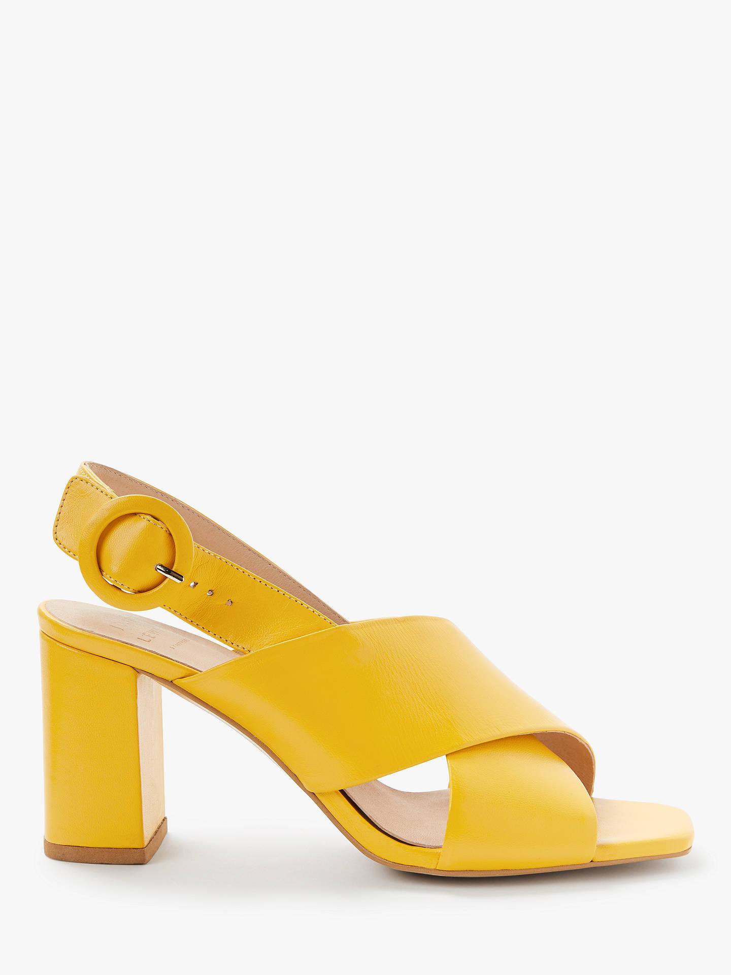 d46d0dbf22c John Lewis & Partners Jana Cross Strap Chunky Heel Sandals, Yellow Leather