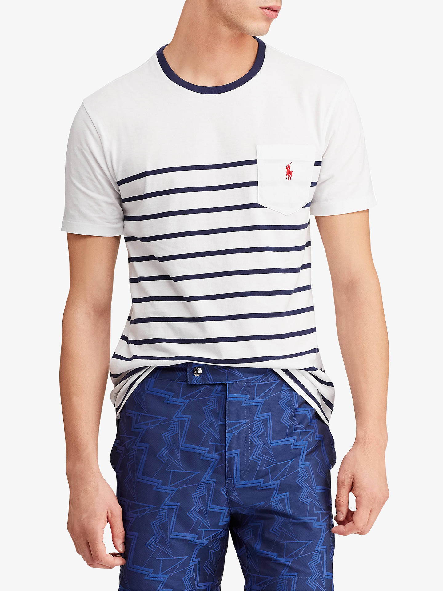 a298b47c Buy Polo Ralph Lauren Stripe Pocket Short Sleeve T-Shirt, White/New Navy ...