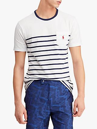Polo Ralph Lauren Stripe Pocket Short Sleeve T-Shirt, White/New Navy