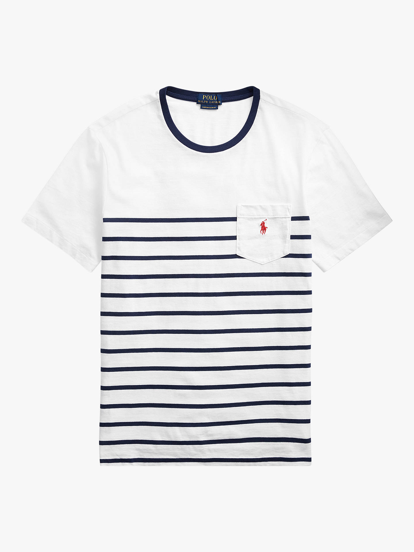 fca3883f ... Buy Polo Ralph Lauren Stripe Pocket Short Sleeve T-Shirt, White/New Navy
