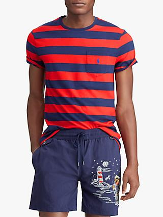 Polo Ralph Lauren Short Sleeve Stripe Pocket T-Shirt, Cruise Red/New Navy